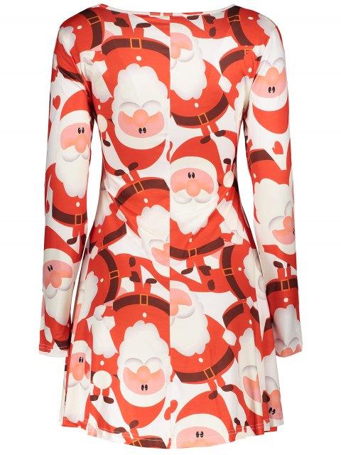 women's Christmas Print Long Sleeves Dress - RED M Mobile