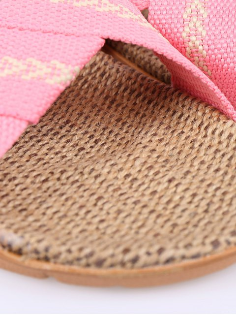 women Linen Color Block Cross Straps Slippers - PINK SIZE(37-38) Mobile