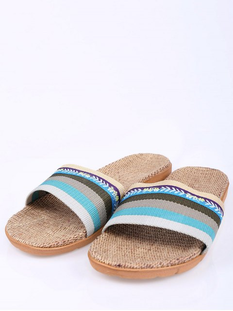 ladies Flowers Ombre Striped House Slippers - BLUE SIZE(37-38) Mobile