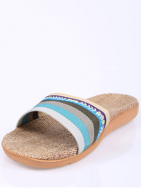 lady Flowers Ombre Striped House Slippers - BLUE SIZE(39-40) Mobile