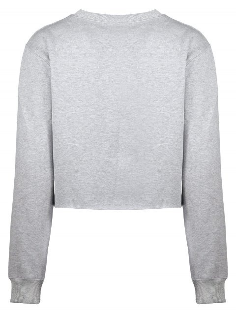 trendy Raw Hem Cropped Sweatshirt - GRAY L Mobile