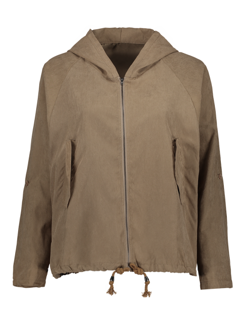 trendy Drawstring Zippered Hooded Jacket - KHAKI 2XL Mobile