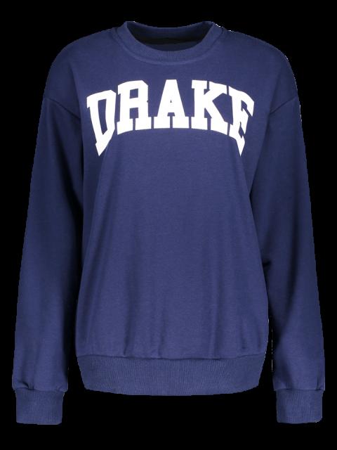 fashion Loose Fitting Letter Pattern Sweatshirt - CADETBLUE S Mobile