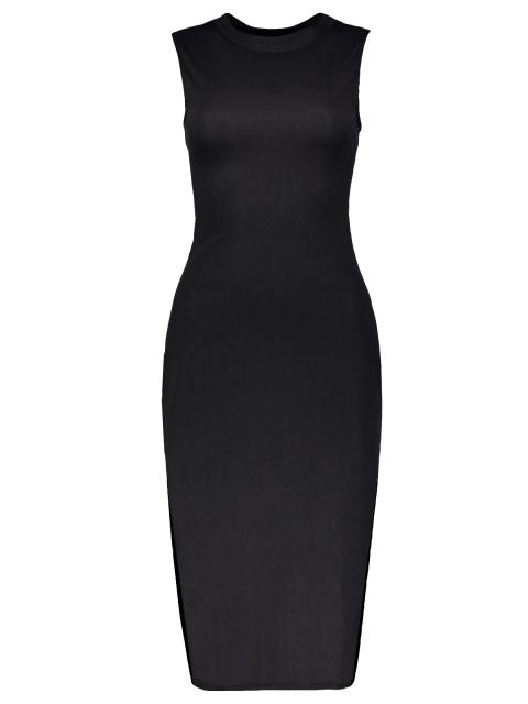 hot Side Slit Sleeveless Back Cutout Bodycon Dress - BLACK S Mobile