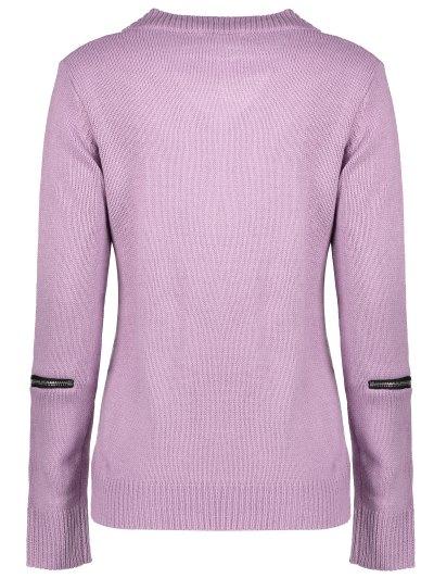 Pullover Zipper V Neck Sweater - PINK L Mobile