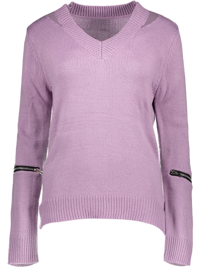 Pullover Zipper V Neck Sweater - PINK M Mobile