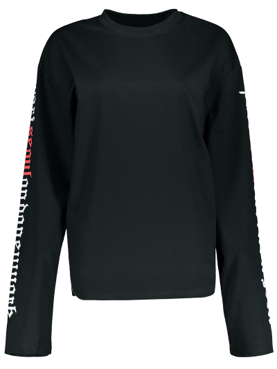 Letter Graphic Sleeve Sweatshirt - BLACK M Mobile