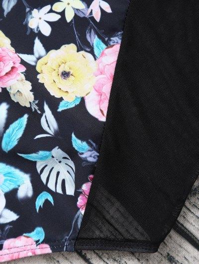 Floral Low Cut Mesh Swimwear - BLACK L Mobile