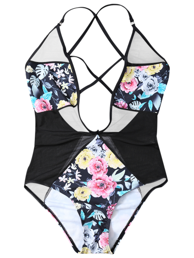 Floral Low Cut Mesh Swimwear - BLACK M Mobile