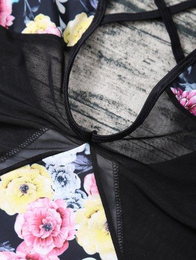 Floral Low Cut Mesh Swimwear - BLACK S Mobile