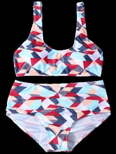 High Waisted Geometric Print Bikini - COLORMIX XL Mobile
