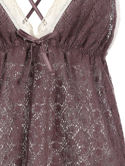 Bowknot Spaghetti Strap Lace Sleepwear Suit - COFFEE L Mobile