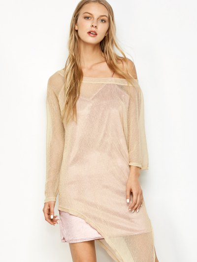Asymmetric See-Through Cover Up - GOLDEN XL Mobile