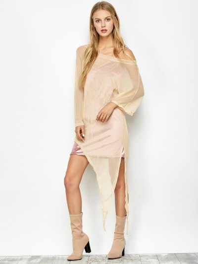Asymmetric See-Through Cover Up - GOLDEN L Mobile