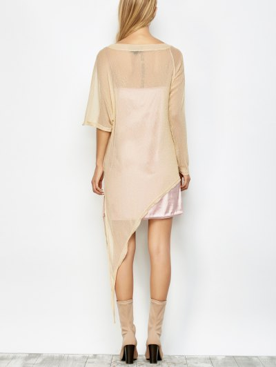 Asymmetric See-Through Cover Up - GOLDEN M Mobile