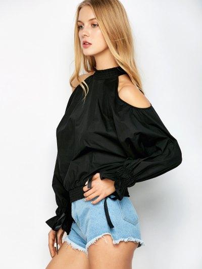 Cold Shoulder Blouse - BLACK 2XL Mobile