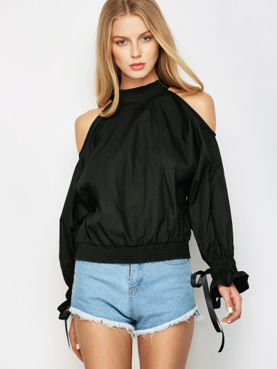 Cold Shoulder Blouse - BLACK XL Mobile