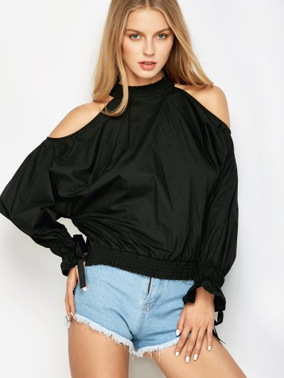 Cold Shoulder Blouse - BLACK S Mobile