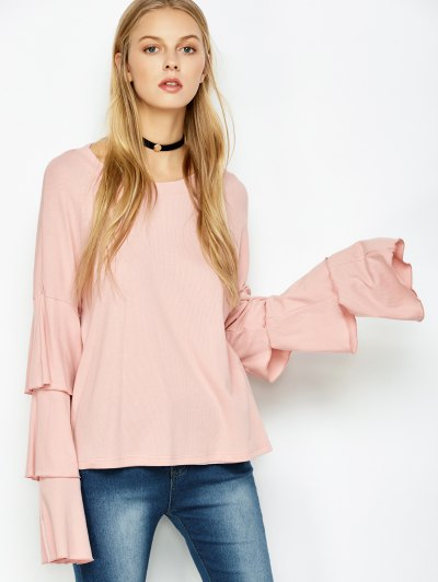 Multi-Layered Sleeve Knitwear - PINK 2XL Mobile
