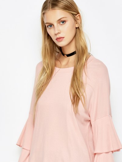 Multi-Layered Sleeve Knitwear - PINK L Mobile