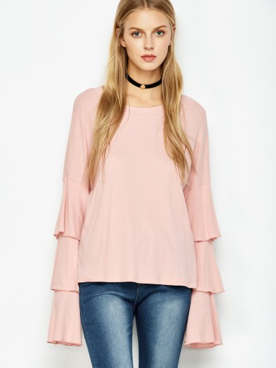 Multi-Layered Sleeve Knitwear - PINK S Mobile