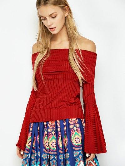 Crepe Bardot Bell Sleeve T-Shirt - RED M Mobile