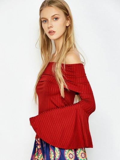 Crepe Bardot Bell Sleeve T-Shirt - RED S Mobile