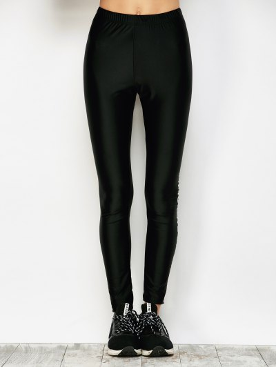 Stretchy Letter Pattern Leggings - BLACK L Mobile