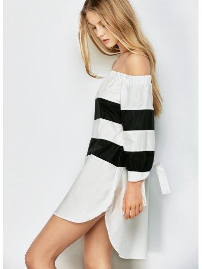 Striped Off Shoulder Dress - WHITE AND BLACK M Mobile
