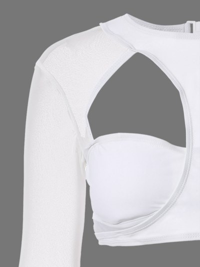 Long Sleeve Cutout High Rise Bathing Suit - WHITE S Mobile