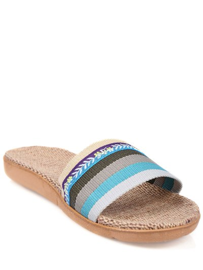 Flowers Ombre Striped House Slippers - BLUE SIZE(37-38) Mobile