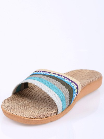 Flowers Ombre Striped House Slippers - BLUE SIZE(39-40) Mobile