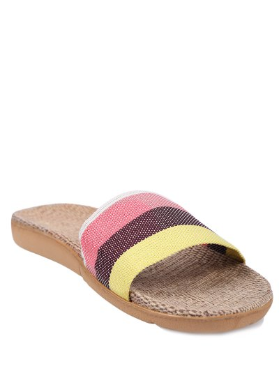 Striped Color Block Linen House Slippers - PINK SIZE(39-40) Mobile