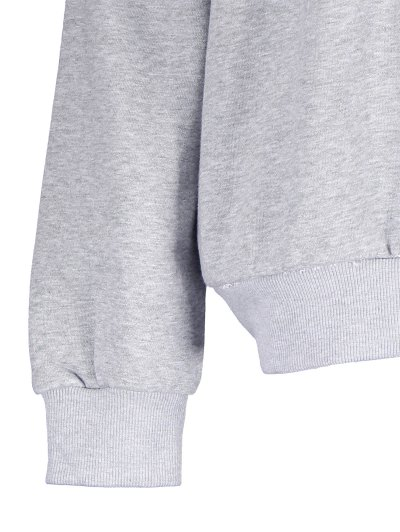 Loose Fitting Letter Pattern Sweatshirt - LIGHT GRAY M Mobile