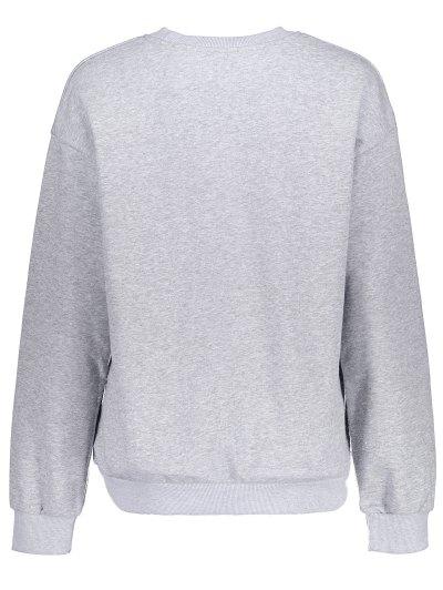 Loose Fitting Letter Pattern Sweatshirt - LIGHT GRAY S Mobile