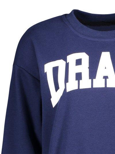 Loose Fitting Letter Pattern Sweatshirt - CADETBLUE M Mobile