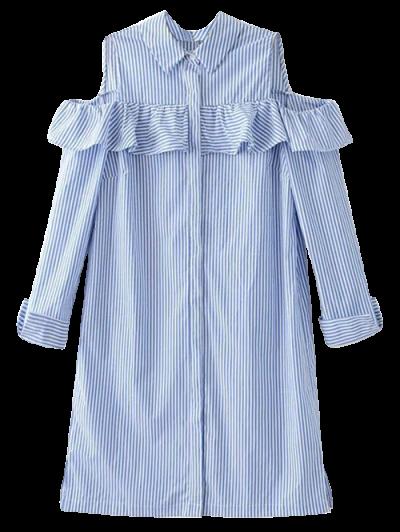 Cold Shoulder Camisa De La Colmena Rayada - Azul Claro