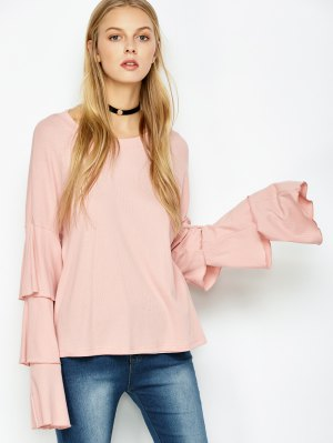 Multi-Layered Sleeve Knitwear - Pink