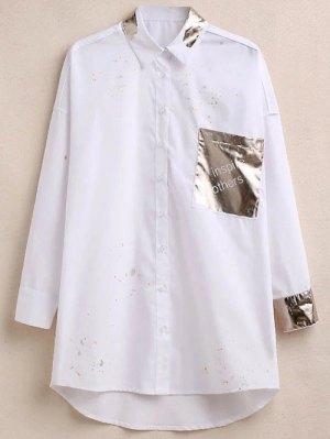 Oversized Paint Splatter Shirt With Shiny Pocket - White
