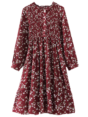 Floral Smocked Long Sleeve Swing Dress - Wine Red