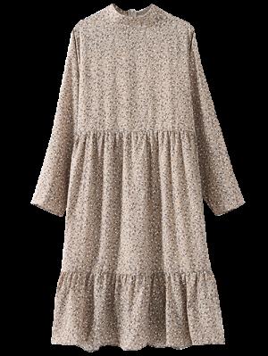 Tiny Floral Long Sleeve Smock Dress - Light Khaki