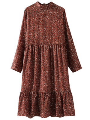 Tiny Floral Long Sleeve Smock Dress - Brick-red