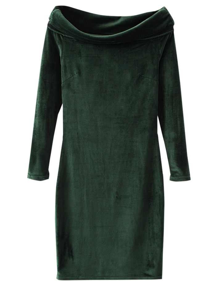 Velvet Bodycon Off The Shoulder Dress - DEEP GREEN M