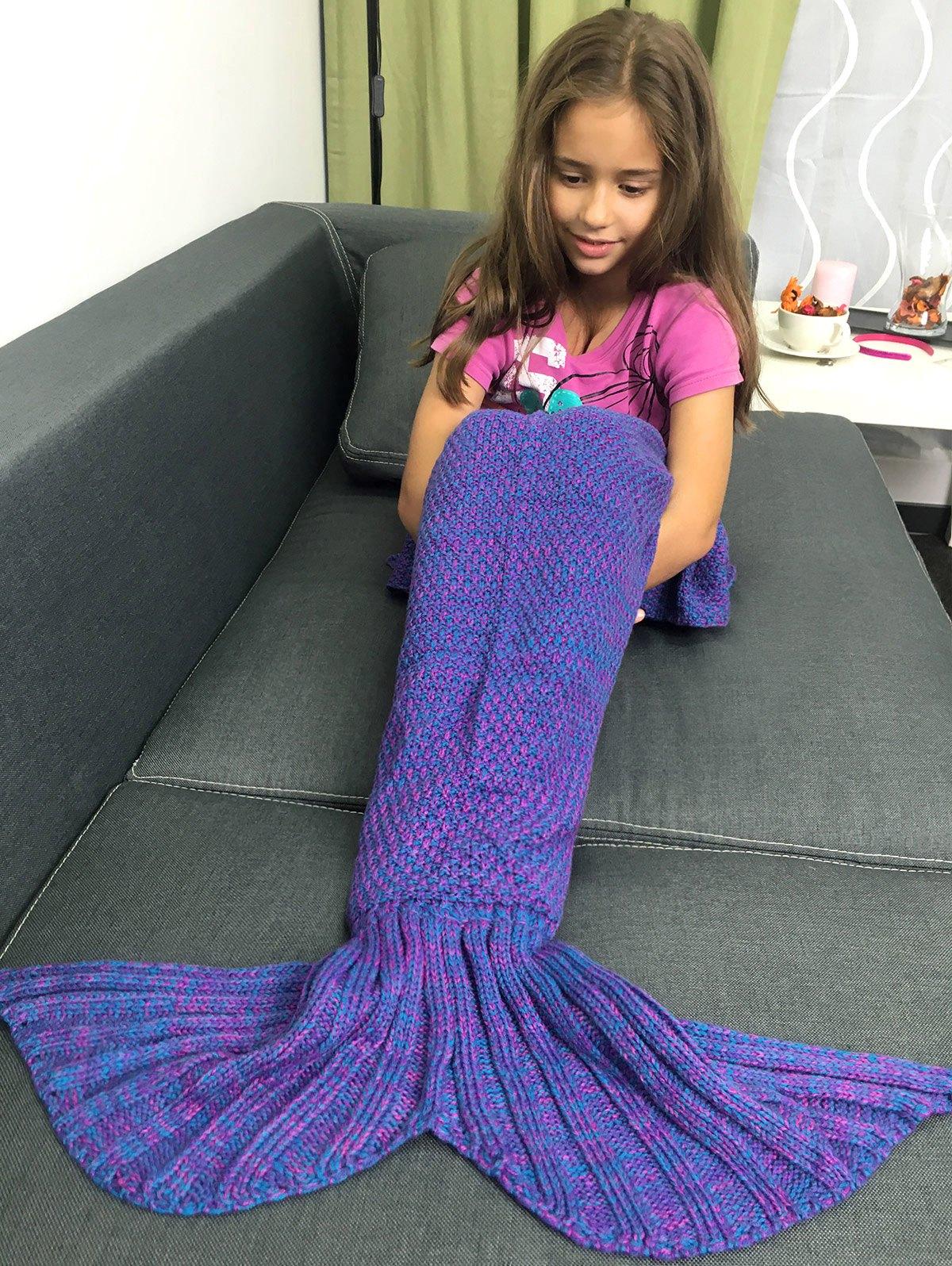 Yarn Knitted Sleeping Bags Mermaid Tail Shape Blanket