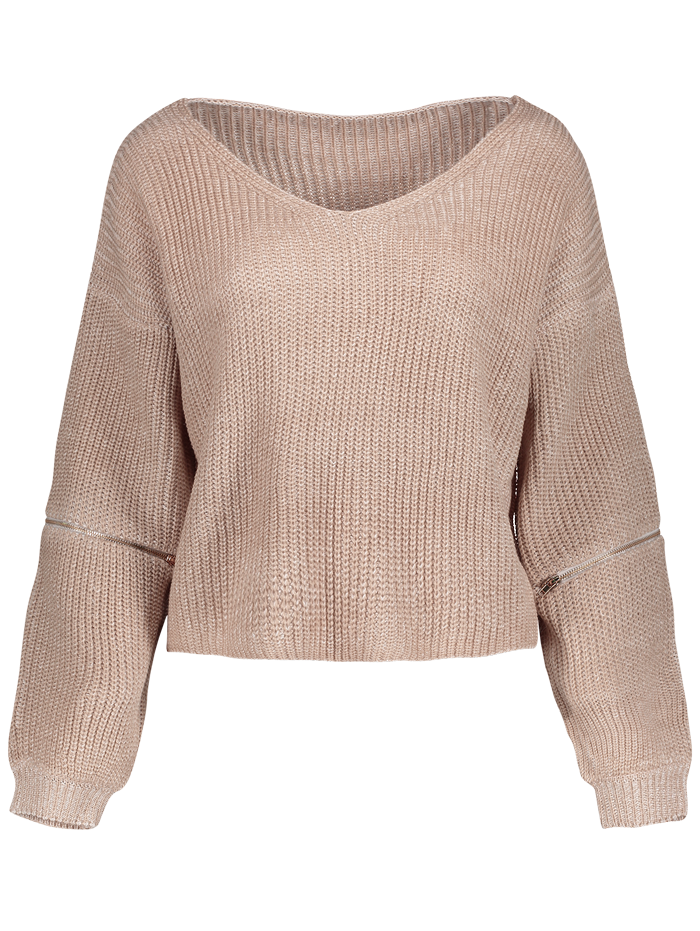 V-Neck Zipper Sleeve Long Sleeve Zipper Sweater