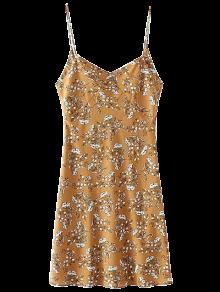 Mini Low Back Floral Slip Dress - Yellow