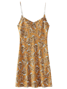Mini Low Back Floral Slip Dress - Yellow