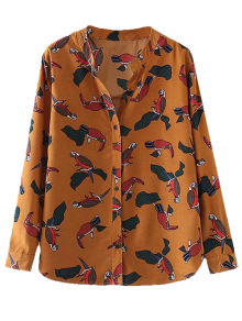Birds Printed Stand Collar Shirt