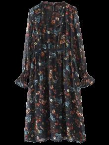 Long Sleeve Printed Sheer Smock Dress - Purplish Blue L