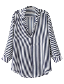 Pullover Oversized Striped Blouse